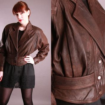 Vintage 1980s Christian Dior Brown Leather Jacket Small Cropped Corset Peplum