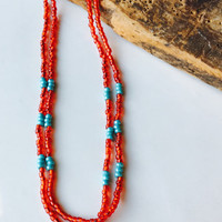 Seed Bead Necklace, Red Seed Beads, Blue Seed Beads, Turquoise Color, Southwest Style Necklace, Double Strand, Etsy, Etsy Jewelry