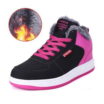 Womens High Top Plush Lining Skateboard Shoes Winter Sneakers