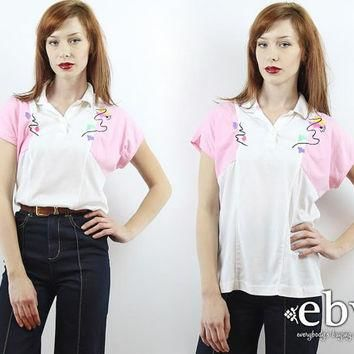 Vintage 80s White + Pink Golf Shirt S M L Polo Shirt Embroidered Shirt White Shirt Whi