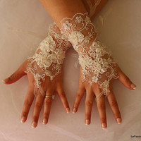 Wedding Gloves,İvory Lace Gloves,Bridal Goves,Mittens,Bridal Fingerles Gloves Long Gloves,Bridal Acessoriess