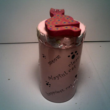 CAT LOVER CANISTER All Purpose Storage Tin Canddy Cantainer Coin Collection Adorable Cat Decorated Canister Cute Home Decor For Cat Lovers