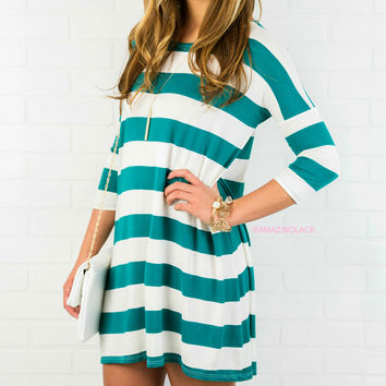 The Way It Goes Jade Striped Quarter Sleeve Dress