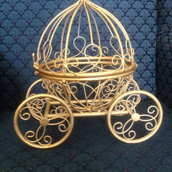 Gold Cinderella Pumpkin Carriage - Cute Princess- Great for a Little Girl's Room or a Wedding Table Centerpiece