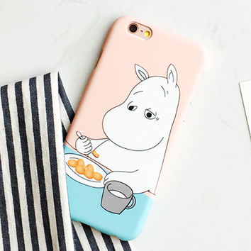 Fashion Hard PC Cartoon Hippo Case For iphone 5S Case For iphone 5 6 6S Plus Phone Cases Cute hippopotamus Moomin Cover Capa NEW -004-05-Girllove100