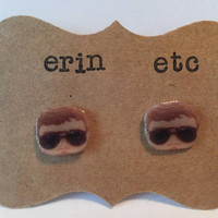 Handmade Plastic Fandom Earrings - Parks and Rec - Bert Macklin