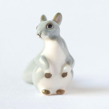 Vintage squirrel porcelain figurine Soviet rare, grey shades squirrel home decor, tiny little squirrel porcelain figurine 60s Russian gift