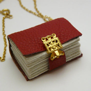 Poppy red leather book necklace with gold clasp by thepressgang