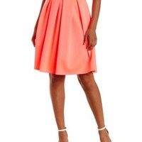 Bright Pink Box-Pleated Full Midi Skirt by Charlotte Russe