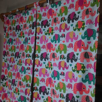 Nursery Curtain Panels Elephant Curtains Kid's Room Curtain  Baby Girl Curtains Baby Boy Curtains Pair Of Panel Custom Made Curtain