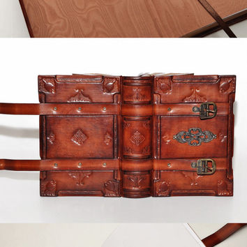 Handmade brown leather journal - Medieval style, 6x8 inch (15x20 cm) in gift box with 720 pages (counting side by side).