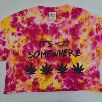 Tie Dye Shirt pot leaf crop top Soft Grunge Hippie Small Womens Tie Dye Clothing Handmade Tie Dye Orange Yellow Girly Stoner Pot Leaf Herb