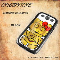 C3PO Hello Kitty Star Wars Black White Snap On 3D For Samsung Galaxy S3 Case
