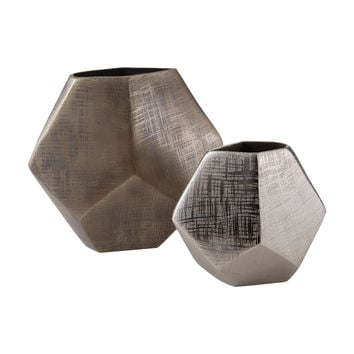 178-028/S2 Faceted Cube Vases - Free Shipping!