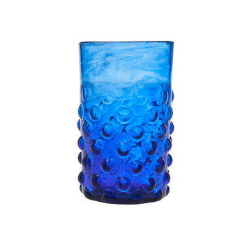 Blue Bumpy Glass Tumblers Set of Two