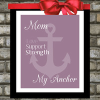 Mothers Day Gift : Personalized 8x10 Custom Anchor Art Print. Gifts Under 20 For Mom. You Choose Colors. From Daughter To Mum, Mommy