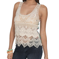 Crochet Front Floral Tank | Shop Just Arrived at Wet Seal