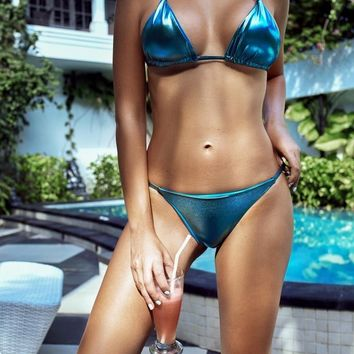 Metallic Triangle Bikini Set - Aquamarine