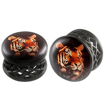 Tiger Logo Double-Flared Plug [Gauge: 5/8 inch - 16mm] Alloy (Black) // Set of 2