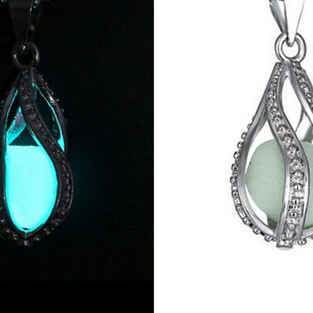Glow in the Dark Tear Drop dragon egg  Necklace
