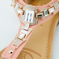 Women's Rhinestone Sandal Gladiator Jeweled Slip On Thong Strap Sandals Shoes