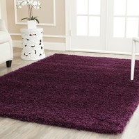 Safavieh Cozy Solid Purple Shag Rug (8' x 10') | Overstock.com Shopping - The Best Deals on 7x9 - 10x14 Rugs