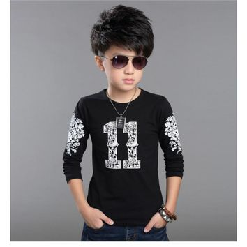 Fashion 100%Cotton Print Design Long Sleeve T-Shirts Tops Tees for 2-12 Years Kids Baby Boys Children