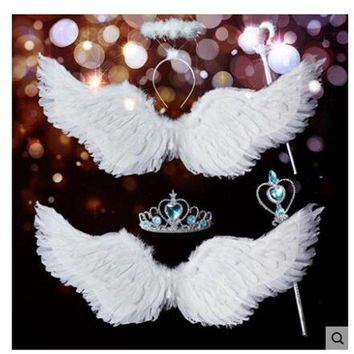 DCCKLO3 Wing Halloween Xmas Decorate Wedding Bride Flower Girl Angellwing White Feather Adult chilren Victoria Secret Kids coustume sexy