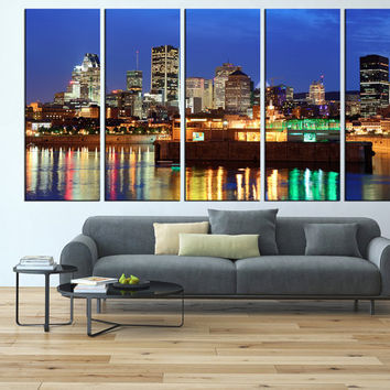 Montreal print Canvas Print wall art, extra large wall art, Montreal city skyline wall art, Montreal art print canvas t553