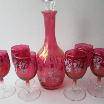 Stunning Vintage Cranberry Grape Decanter and Six Wine Glasses Set