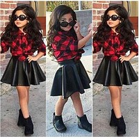 Spring Fashion Girls Kids Princess Plaid Tops Shirt Leather Skirt Summer Outfits Clothes