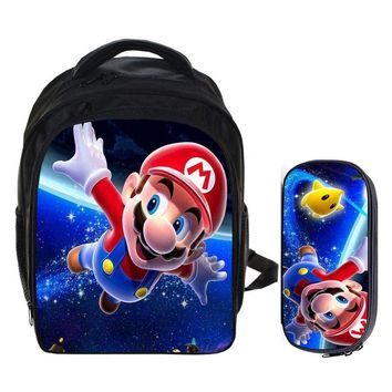 Super Mario party nes switch 13 Inch  Bros Sonic Backpack Kids School Bags for Boys Schoolbag Baby Kindergarten Child Bags Pencil Bag Sets AT_80_8