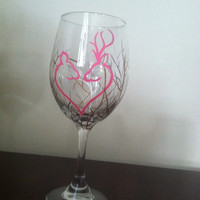 Pink Deer Country Hand Painted Wine Glasses