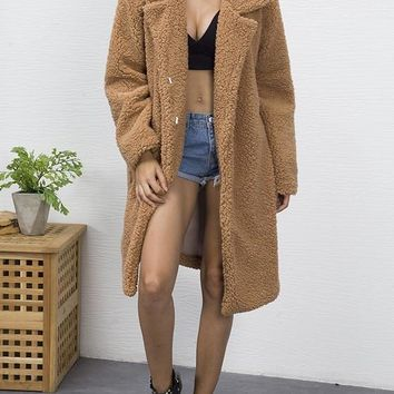 New Camel Pockets Turndown Collar Long Sleeve Fashion Teddy Winter Coat