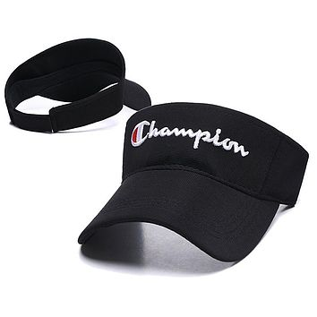 Champion Popular Women Men Embroidery Sports Sun Hat Baseball Cap Hat Black