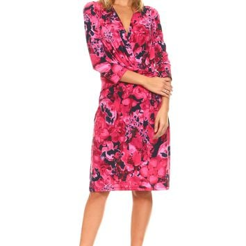 Women's 3/4 Three Quarter Sleeve V-Neck Wrap Dress with Side Tie & Floral Print