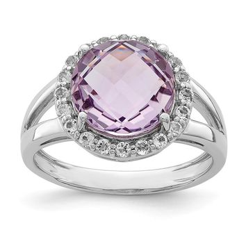 Pink Quartz And White Topaz Halo Ring in Sterling Silver