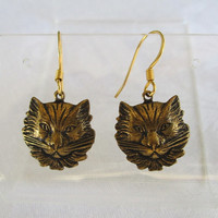 Retro Brass Cat Earrings Vintage Figural Jewelry