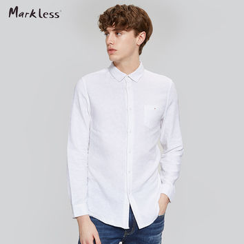 New Arrival Cotton Linen Casual Shirts Men White Shirt Long Sleeve Male Slim Fit Shirts Style Simple Fashion