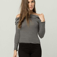 POLLY & ESTHER Stripe Marilyn Womens Top