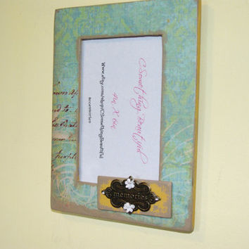 4X6 shabby chic picture frame, teal and yellow, memories