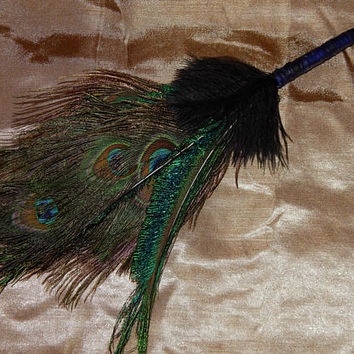 Feather Besom Broom or Smudge Wand - Peacock & Ostrich Feathers w/ Genuine Garnet - Wiccan Besom - Occult Altar Tools - Decorative Broom