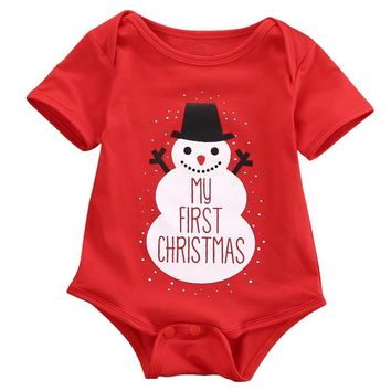Newborn Infant Merry Christmas Baby Girl Boys Rompers Jumpsuit Clothes Outfits Santa Snowman Xmas Baby Clothing Costume