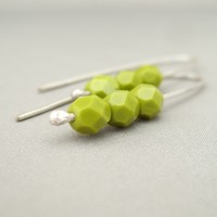 Chartreuse Pea Green Czech Glass and Sterling Silver Modern Earrings | The Silver Forge Handcrafted Jewellery