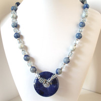 Stone Necklace, Blue Necklace, Earthy Jewelry
