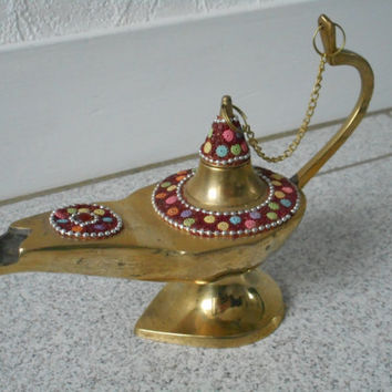 vintage French small brass genie oil lamp