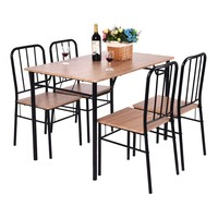 5 Piece Dining Set Table and 4 Chairs Metal Wood Home Modern Breakfast Furniture Kitchen Table