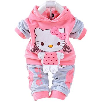 Baby Girl Clothes Sets Newborn Kitty Print Velvet Sport Suits Baby Clothes Infant Casaco Hooded Tops +Pants 2pcs Costume Outfits