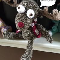 "Crochet Amigurumi Reindeer - Christmas Reindeer Decoration - 14"" Stuffed Animal - Handmade Baby Safe Toy - Crocheted Reindeer Gift"