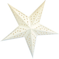 """24"""" Off White Star Moon Paper Star Lantern, Hanging (Light Not Included)"""